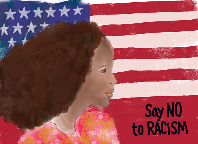 No to Racism - woman with protest message and American flag