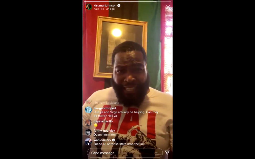 Dr Umar Johnson on Instagram Live