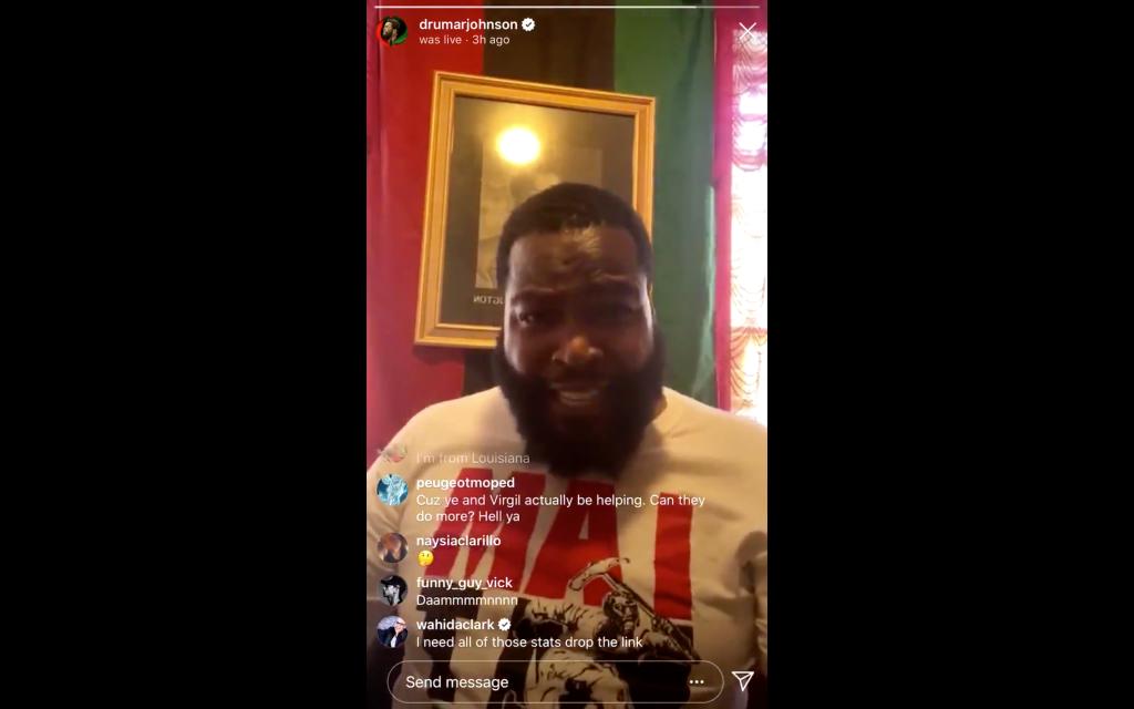 Dr Umar Johnson on Instagram Live