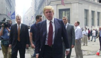 Donald Trump speaks outside the New York Stock Exchange. A w