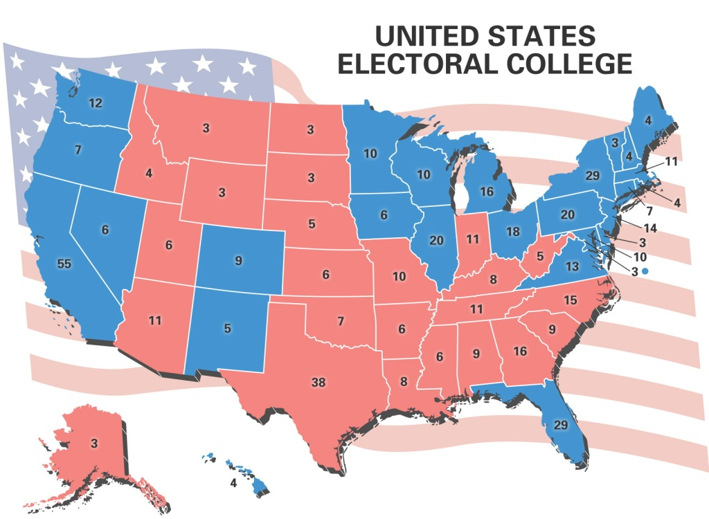 United States electoral college map showing number of electoral votes by state.