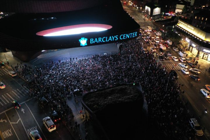 Breonna Taylor protestors gathered at the Barclays Center in NYC