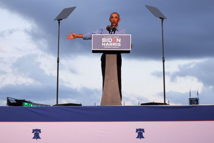 Former President Barack Obama Campaigns For Candidate Joe Biden In Philadelphia