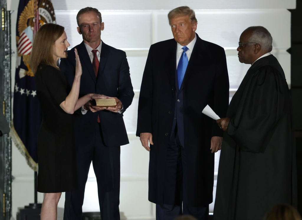 Amy Coney Barrett Is Sworn-In As New Supreme Court Justice At The White House