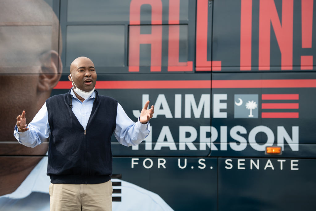 Democratic SC Senate Candidate Jaime Harrison Holds Campaign Bus Tour