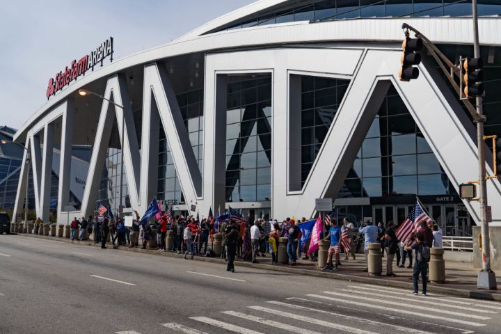 Protesters Gather Outside State Farm Arena In Georgia As Ballots Continue To Be Counted