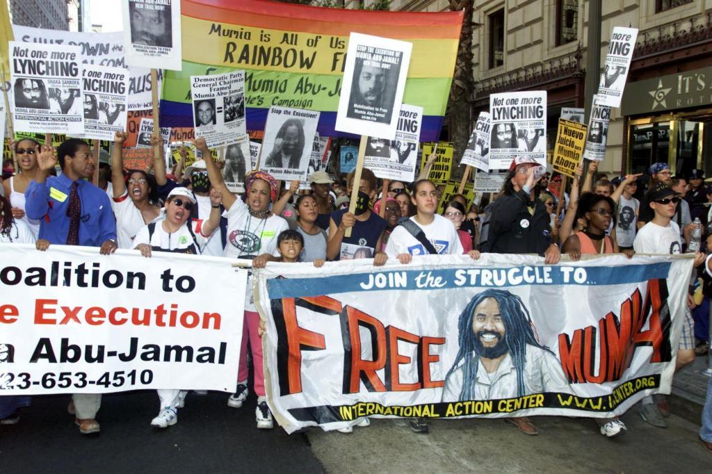 Demostrators supporting death-row inmate Mumia Abu
