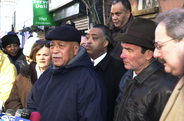 Former Mayor David Dinkins speaks outside the the Rev. Al Sh