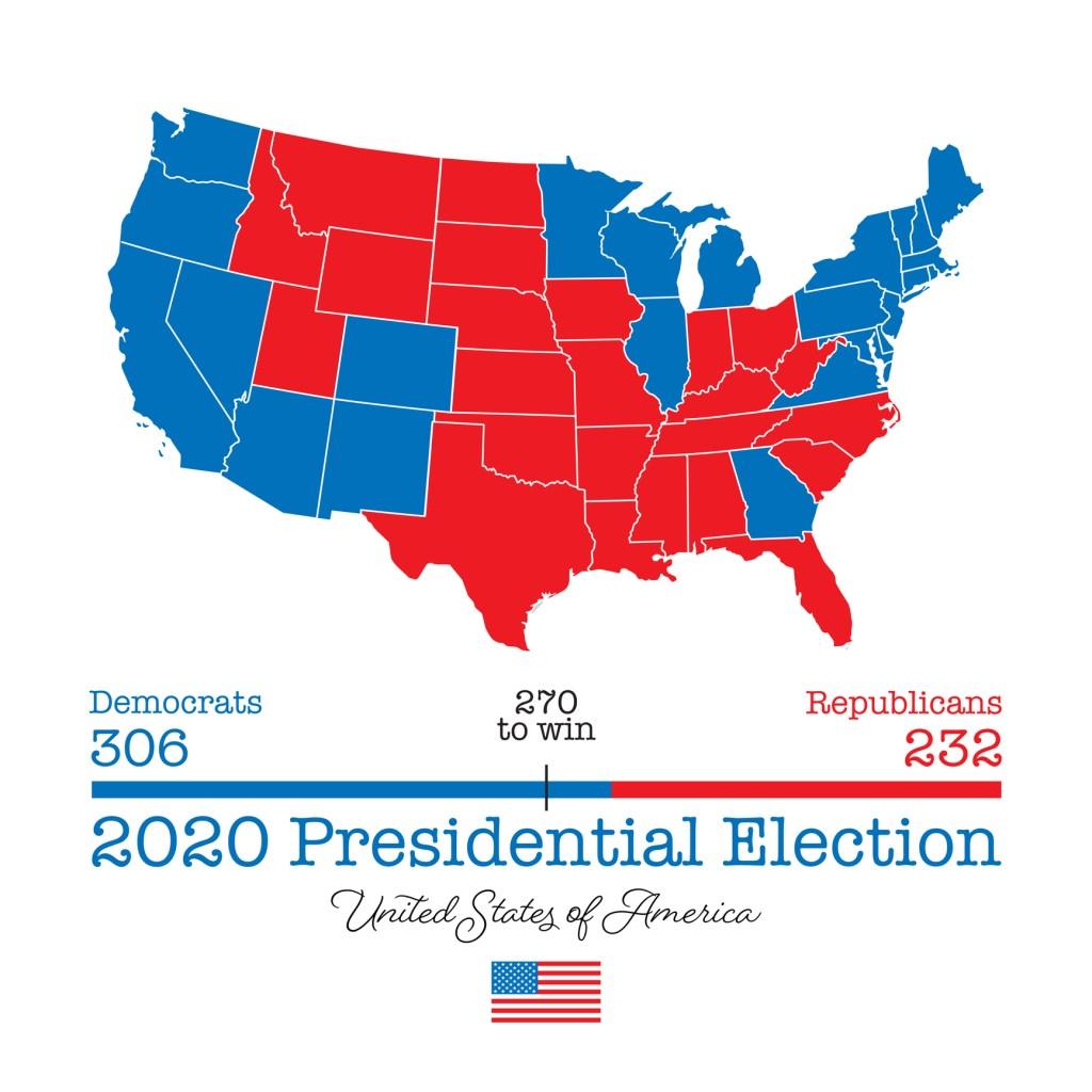 USA Presidential Election Map 2020 - Vector EPS10 Illustration