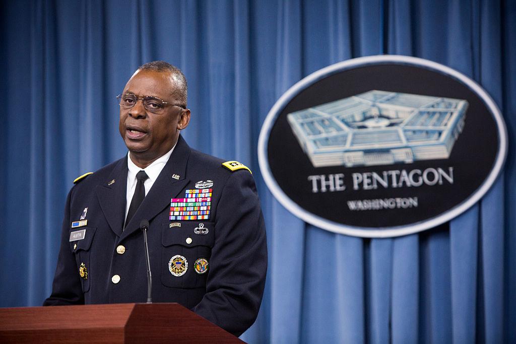 Gen. Lloyd Austin II holds a media briefing on Operation Inherent Resolve