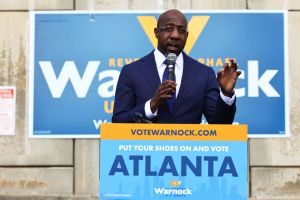 Georgia Democratic Senate Candidate Raphael Warnock Campaigns On Election Day