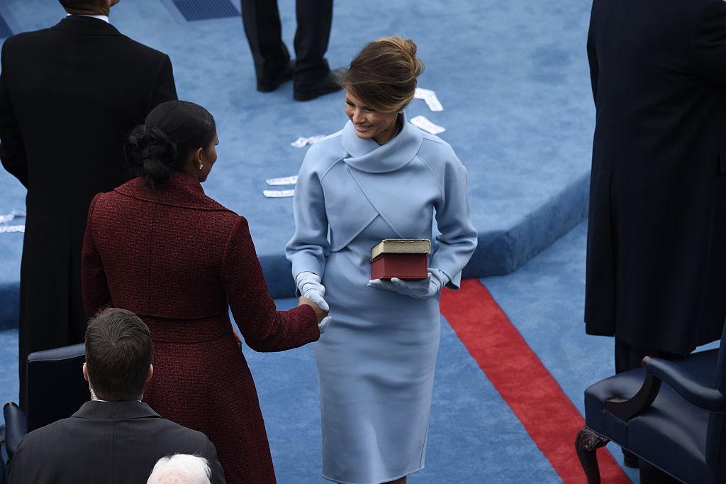 WASHINGTON, DC - JANUARY 20: First lady Melania Trump shakes th