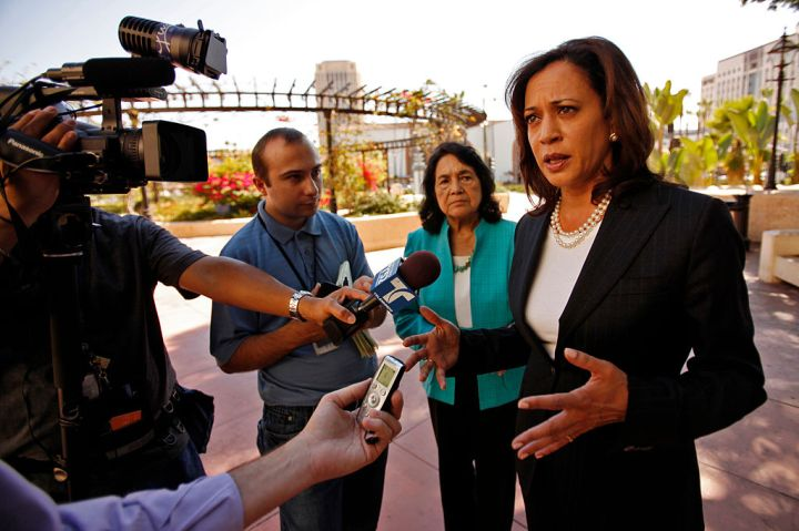 Kamala Harris, right, candidate for Attorney General for the State of California, appeared for a pr