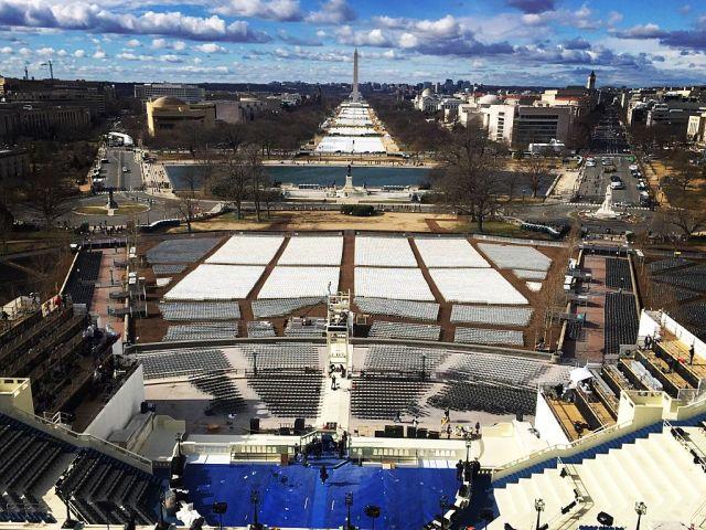 WASHINGTON, DC- JANUARY 18: The American Flag flies above the C