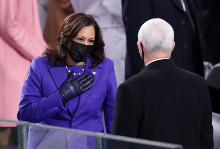Kamala Harris greets Vice President Mike Pence