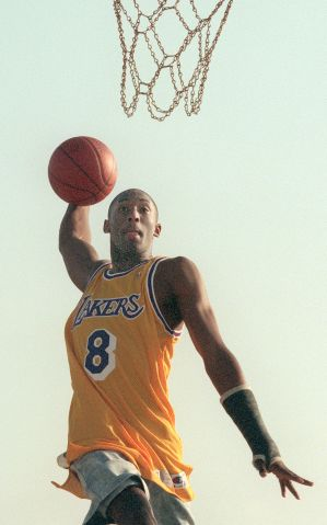 Kobe Bryant, teenager woh was the first draft pick of the Lakers. Feature shots of Bryant while he i