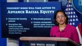 White House Press Secretary Jen Psaki And Domestic Policy Advisor Susan Rice Hold Briefing
