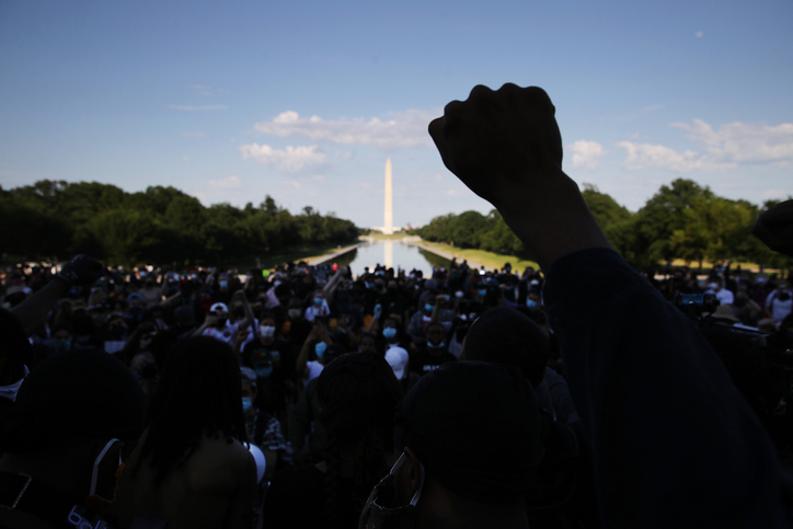 Hand raised during protest in Washington D.C.