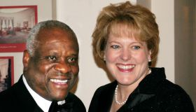 Guest arrivals: Supreme Court Justice Clarence Thomas and wi