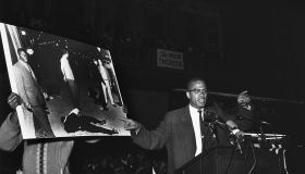 Malcolm X Talking at a Rally