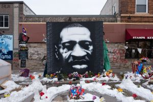 Steel Raised Fist Sculpture Erected At George Floyd Square