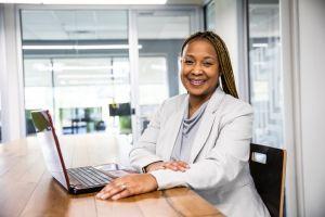Portrait of businesswoman in modern office