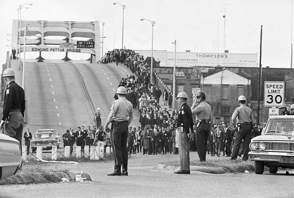 Civil Rights Marchers on Bridge
