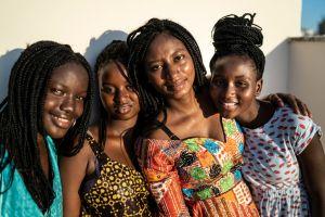 Afro women having fun together