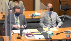Derek Chauvin in court or murder trial