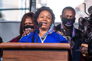 Breonna Taylor's mother Tamika Palmer speaks during the...