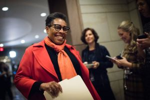 Congresswoman Marcia L. Fudge (Ohio) leaves a closed door meeting at Capitol Visitor Center Auditorium Wednesday morning to nominate a speaker and choose other members of their leadership team.