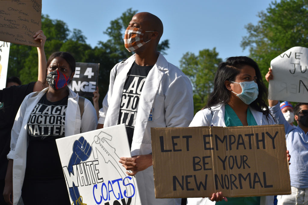 Medical workers rally in New York City, United States following death of African American George Floyd