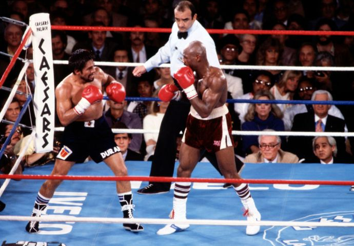 'Marvelous' Marvin Hagler And Roberto Durán Boxing At Caesars Palace