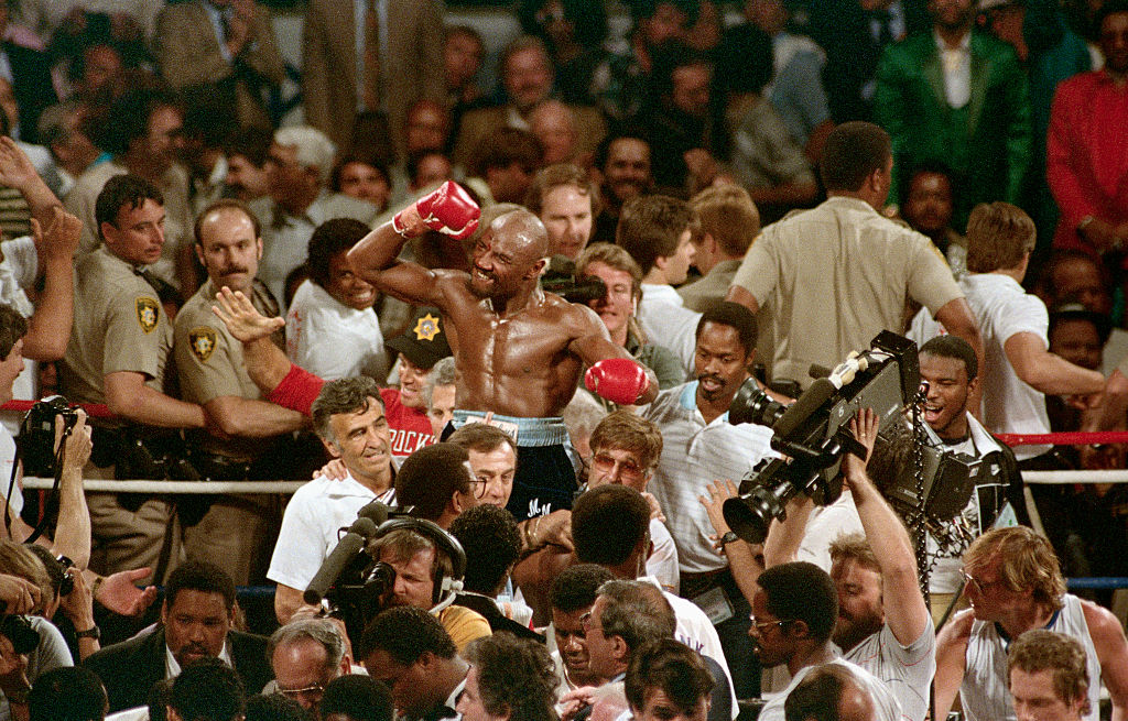 Marvin Hagler Being Carried by Friends After Winning Match