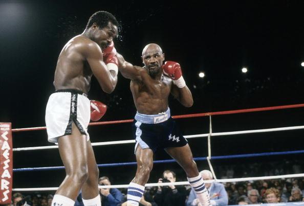 March 10, 1986:Middleweight WBC/WBA/IBF title fight, John Mugabi v Marvin Hagler
