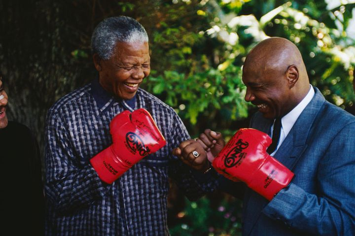 Nelson Mandela Joking with Boxer Marvin Hagler