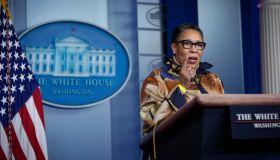 White House Press Secretary Jen Psaki Holds Daily Briefing With HUD Secretary Fudge
