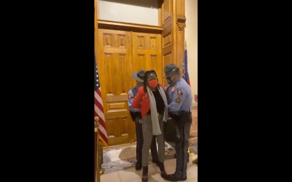 Georgia State Rep. Park Cannon being arrested