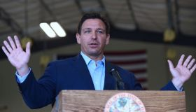 Florida Governor, Ron DeSantis speaks at a press conference...
