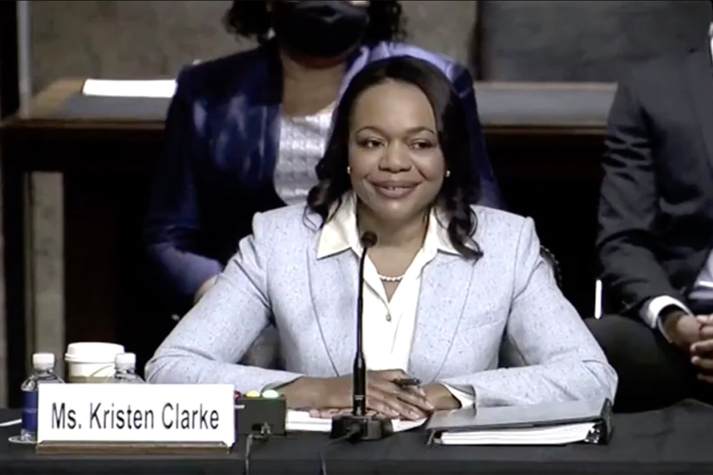 Kristen Clarke at Senate confirmation hearing April 14, 2021