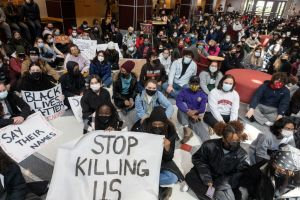 Students staging large sit-in inside of the Ohio Union...