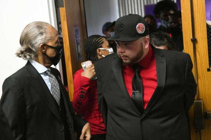 Rev. Al Sharpton and Daunte Wright's brother Damik Bryant arrive