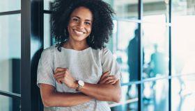 Confident young black businesswoman