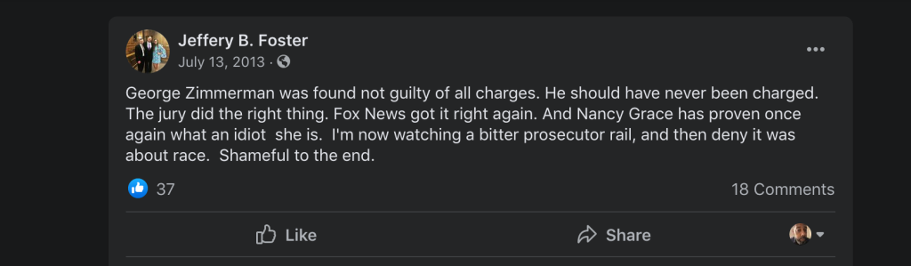 Judge Jeffery Foster Facebook post about George Zimmerman