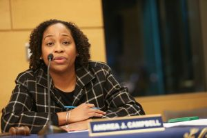 (Boston, MA 01/19/17) Boston City Councillor Andrea Campbell attends a public hearing on Boston police wearing body cameras held at the Boston Public Library on Blue Hill Avenue in Boston on Thursday, January 19, 2017. Staff Photo by Nicolaus Czarnec