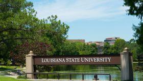 Baton Rouge Louisiana sign for Louisiana State University LSU, Southern life