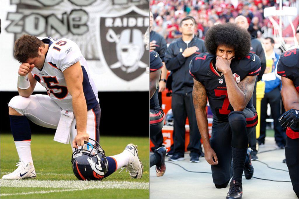 Tim Tebow and Colin Kaepernick kneeling