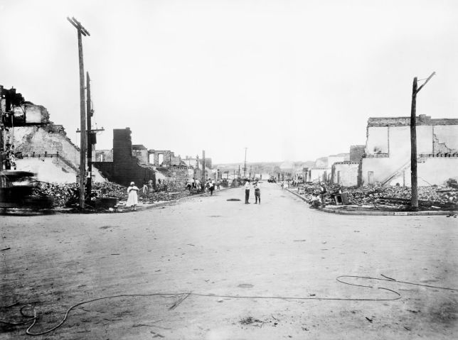 Devastation of Greenwood District after Race Riots, Tulsa, Oklahoma, USA, American National Red Cross Photograph Collection, June 1921