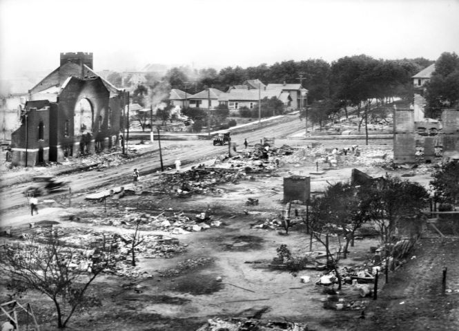 Part of Greenwood District burned in Race Riots, Tulsa, Oklahoma, USA,American National Red Cross Photograph Collection, June 1921