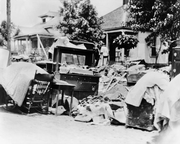 Furniture in Street during Race Riot, probably due to Eviction, Tulsa, Oklahoma, USA, Alvin C. Krupnick Co., June 1921